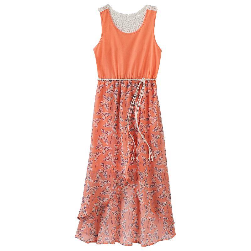 Girls 7-16 & Plus Size Mudd® High-Low Chiffon Maxi Dress