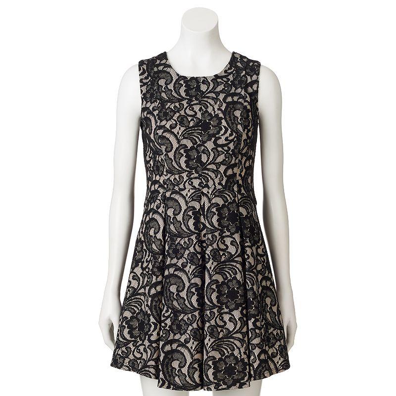 Juniors' HeartSoul Floral Lace Pleated Dress