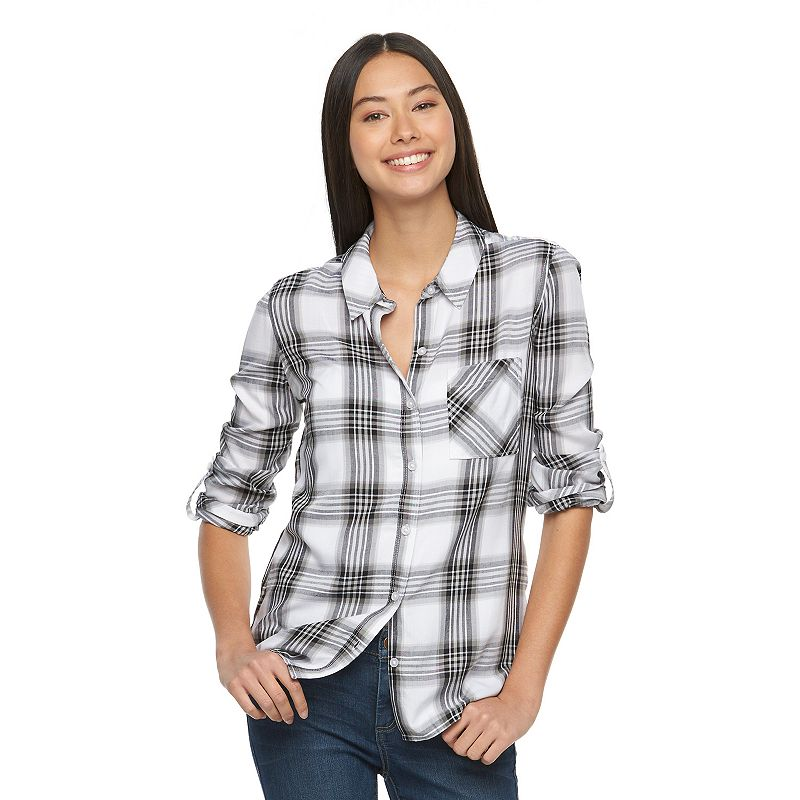 Juniors' SO® Plaid Button-Down Top