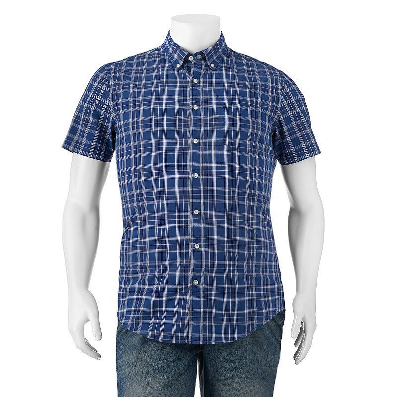 Big & Tall SONOMA Goods for Life™ Poplin Plaid Button-Down Shirt