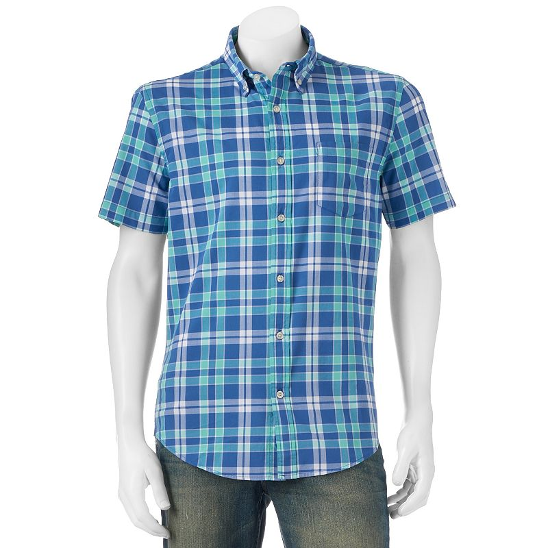 Big & Tall SONOMA Goods for Life™ Poplin Plaid Button-Down Shirt