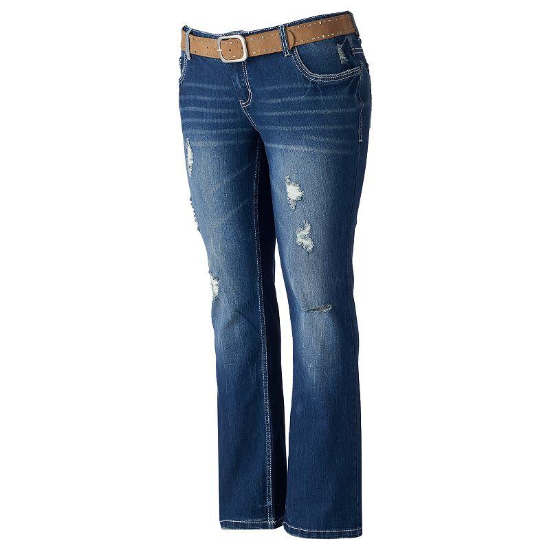 Juniors' Plus Size Amethyst Distressed Slim Bootcut Jeans
