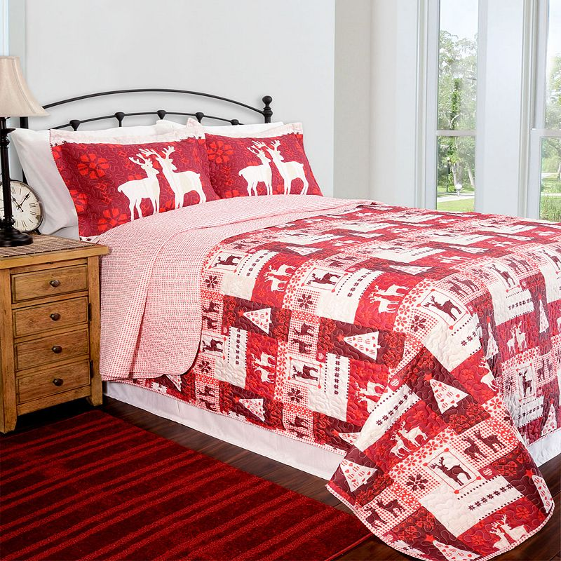 Pegasus Home Fashions Christmas Lodge Home ID Collection Contemporary Quilt Set