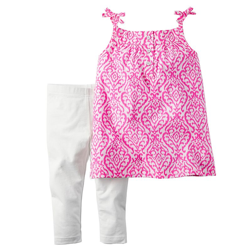 Toddler Girl Carter's Patterned Placket Tank Top & Leggings Set