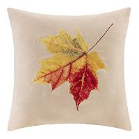 Madison Park Leaf Embroidered Faux Suede Throw Pillow