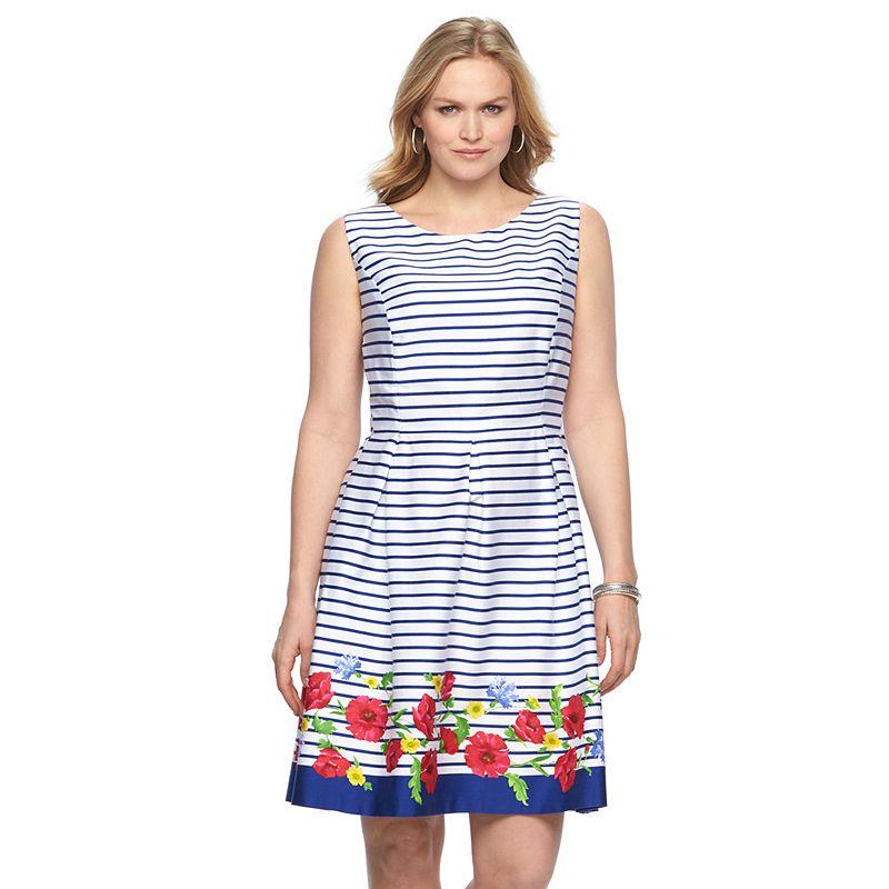 Plus Size Chaps Striped Fit & Flare Dress