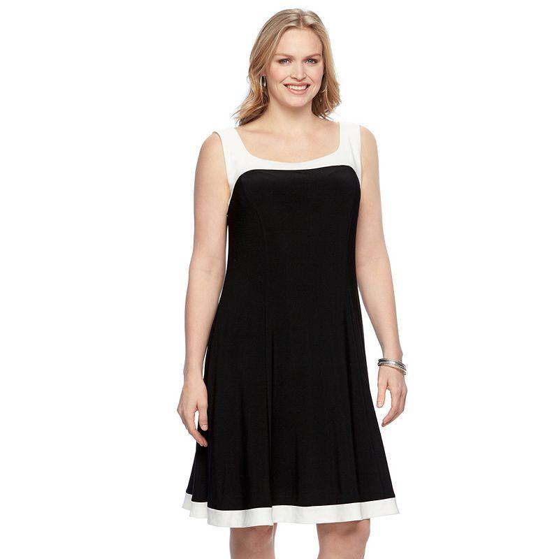 Plus Size Chaps Colorblock Shift Dress