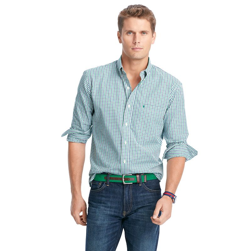 Men's IZOD Saltwater Oxford Plaid Woven Button-Down Shirt