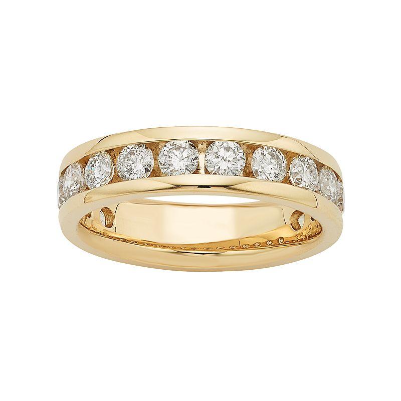 14k gold 1 1 2 carat t w diamond anniversary ring for Kohls jewelry mens rings