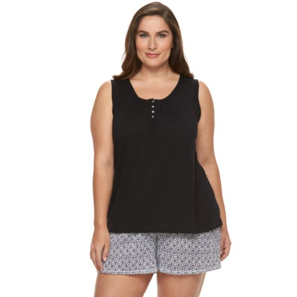Plus Size Croft & Barrow® Pajamas: Knit Gauze Tank & Shorts Pajama Set