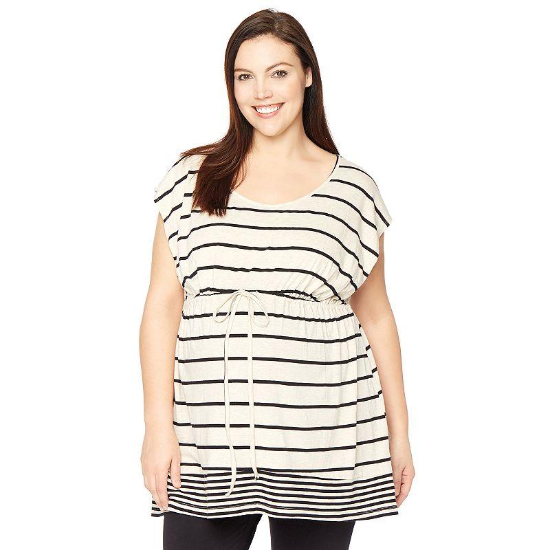 Plus Size Maternity Oh Baby by Motherhood™ Mixed-Stripe Tunic