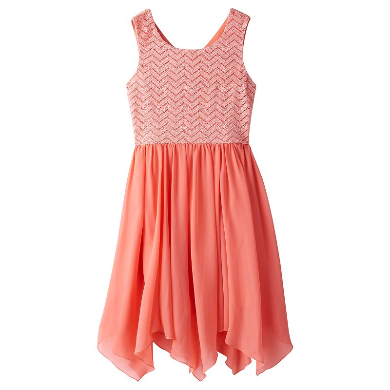Girls 7-16 Speechless Chevron High-Low Handkerchief Dress