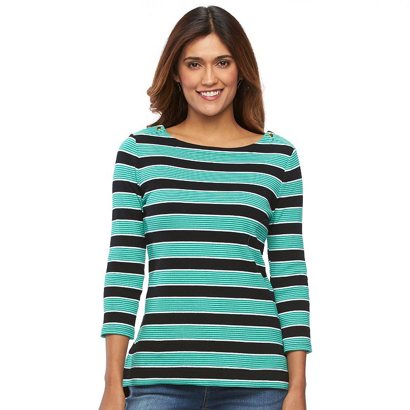 Petite Croft & Barrow® Striped Boatneck Top