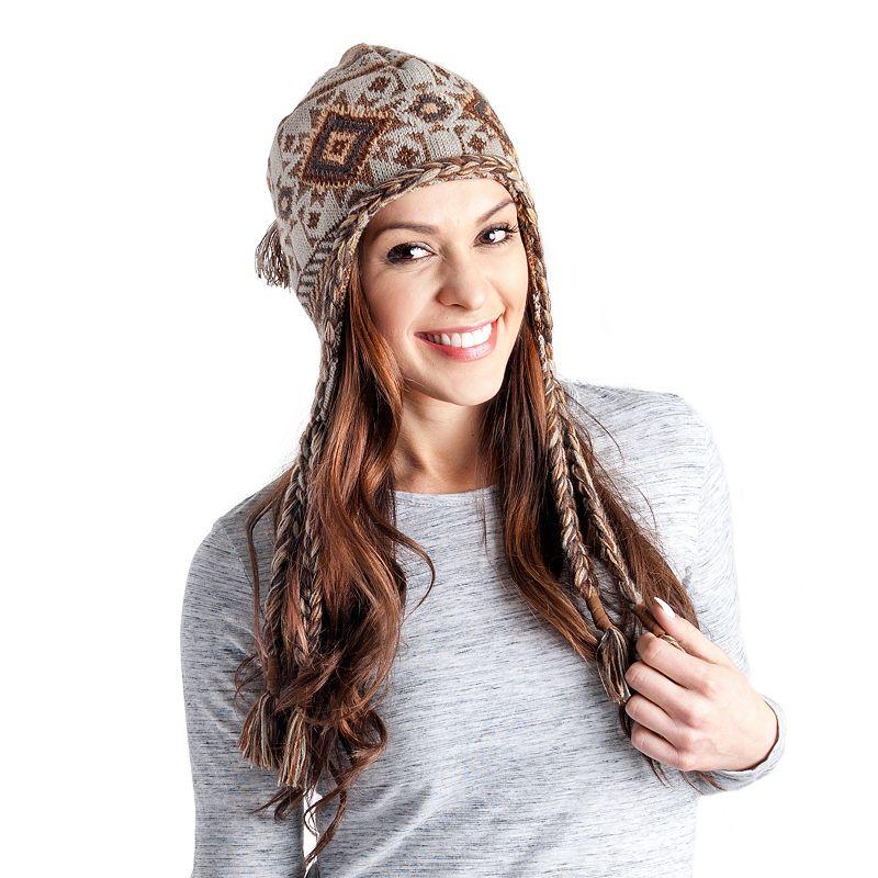 MUK LUKS Women's Geometric Tassel Trapper Hat