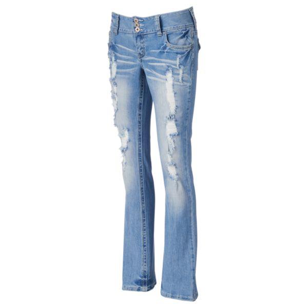 Juniors' Amethyst Destructed Bootcut Jeans