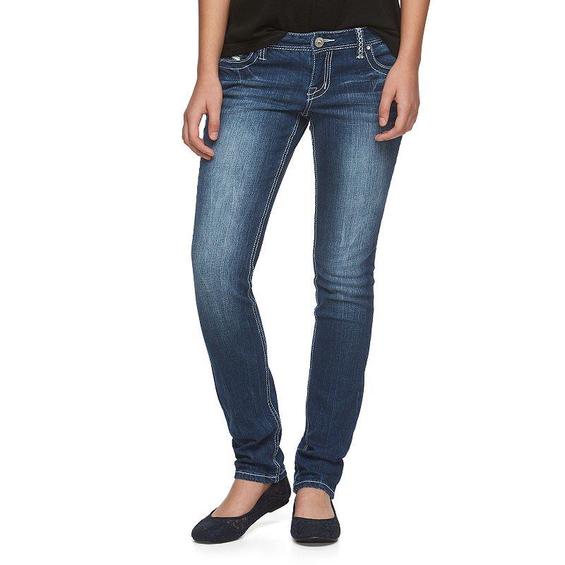 Juniors' Amethyst Embellished Skinny Jeans