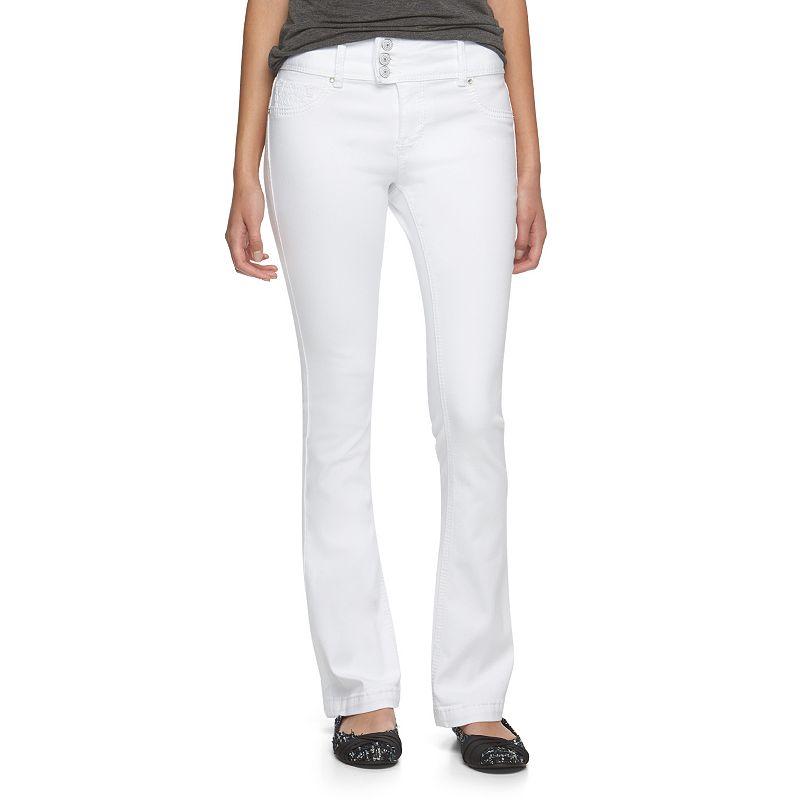 Juniors' Amethyst Lace Pocket Bootcut Jeans