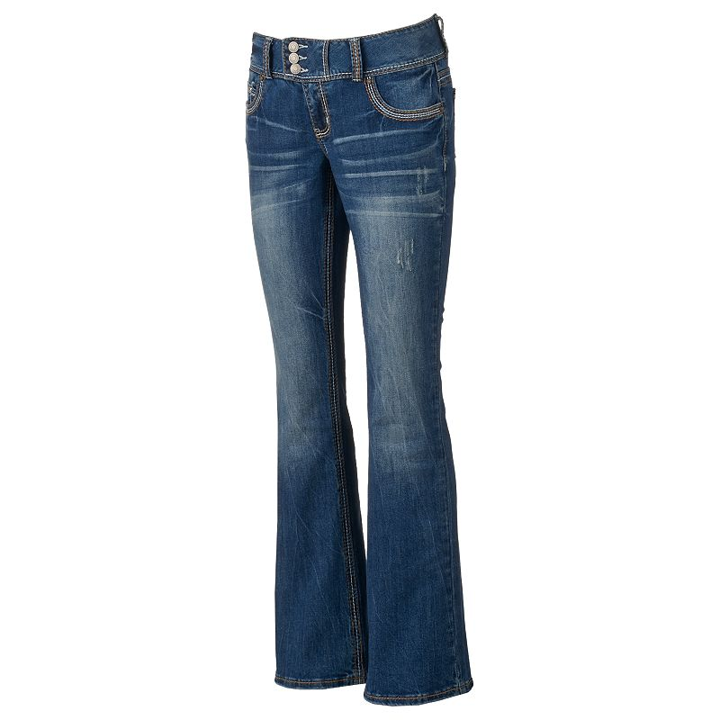 Juniors' Amethyst Thick Stitch Bootcut Jeans