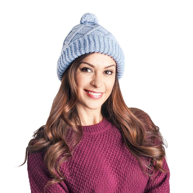 MUK LUKS Women's Diamond-Patterned Pom-Pom Hat