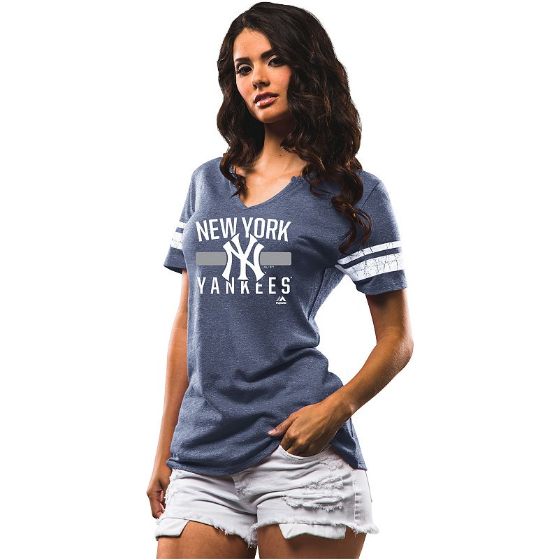 Women's Majestic New York Yankees One Game at a Time Striped Tee