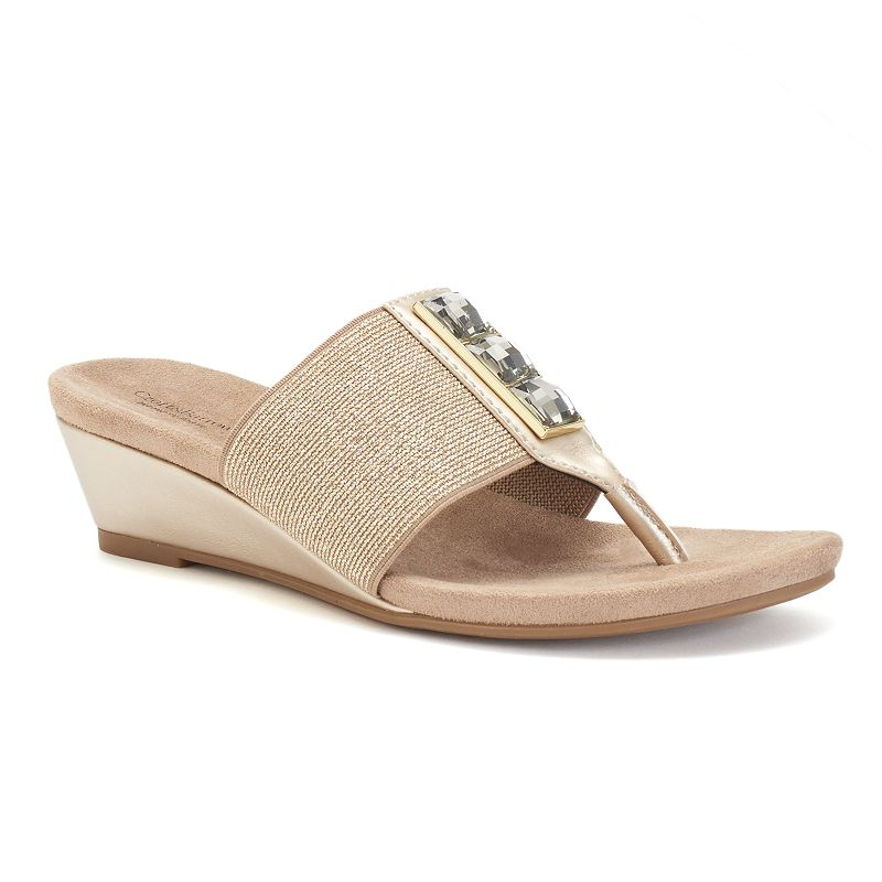 Croft & Barrow® Women's Stretch Wedge Thong Sandals