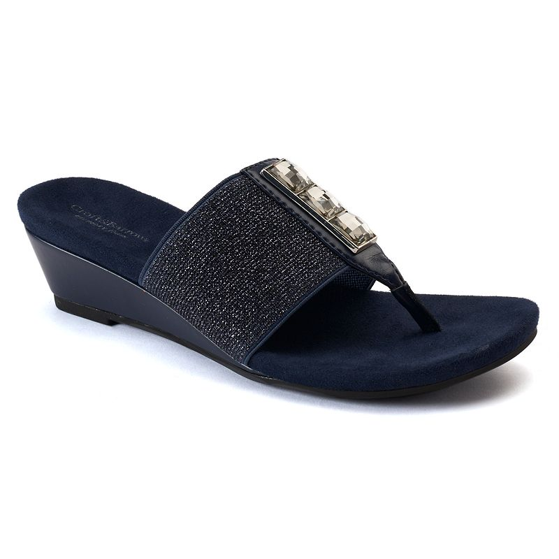 Croft & Barrow® Women's Stretch Wedge Thong Sandals