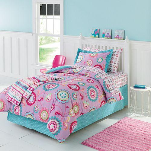 girls bed sets twin full size floral comforter sheet set shams kids bedding new ebay. Black Bedroom Furniture Sets. Home Design Ideas