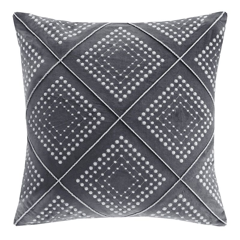 Madison Park Cotton Velvet Geometric Embroidered Throw Pillow