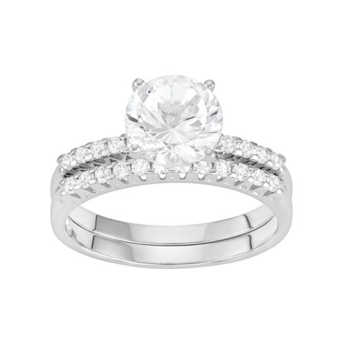 100 Facets of Love 10k White Gold Lab-Created White Sapphire Engagement Ring Set