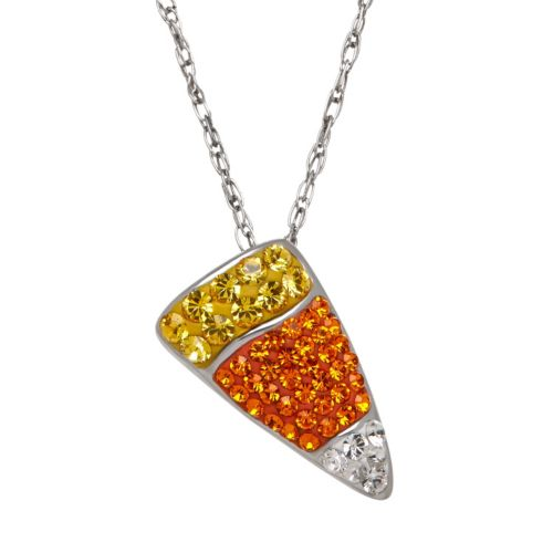 Artistique Sterling Silver Crystal Candy Corn Pendant - Made with Swarovski Elements