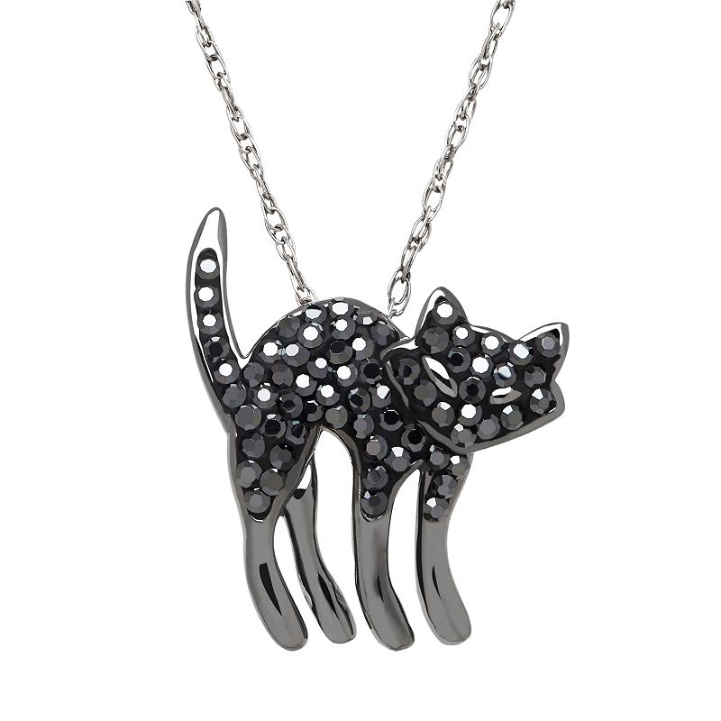 Artistique Sterling Silver Crystal Cat Pendant - Made with Swarovski Crystals