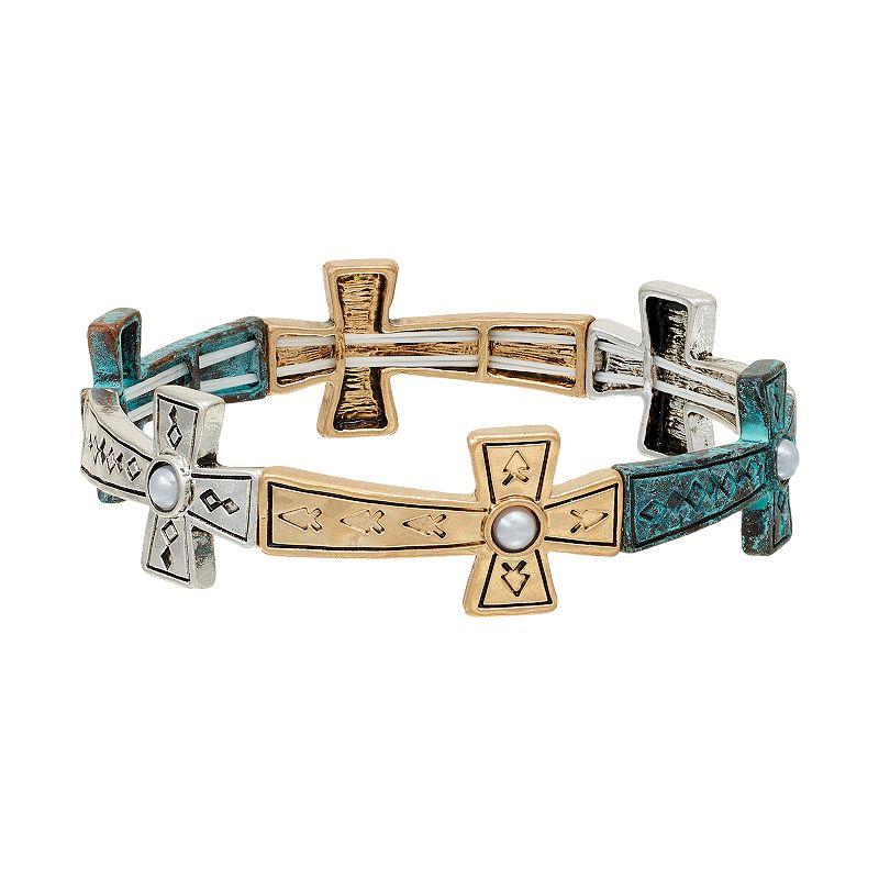 Believe In Two Tone Cross Stretch Bracelet