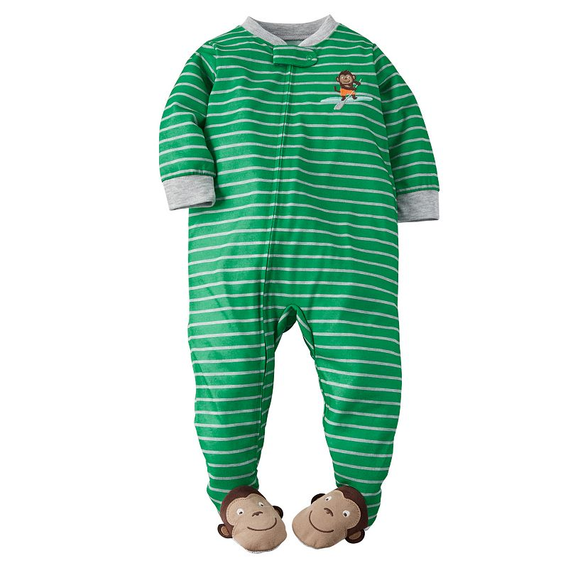 Baby Boy Carter's Striped Green Footed Pajamas