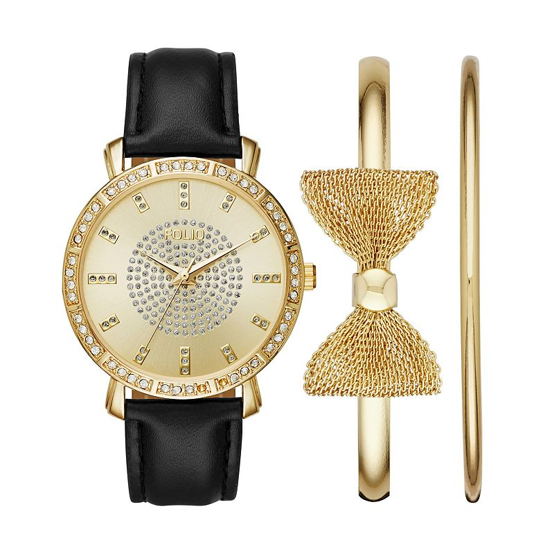 Folio Women's Watch & Bow Bangle Bracelet Set