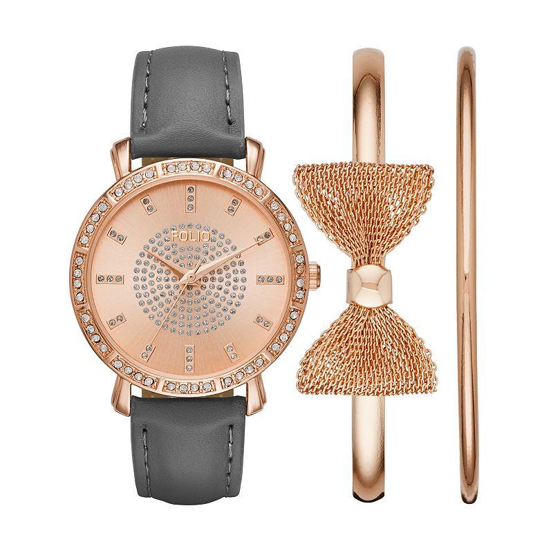 Folio Women's Watch & Bow Bangle Bracelet Set