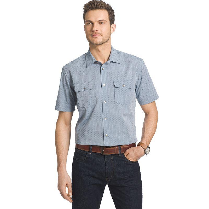 Big & Tall Van Heusen Indigo Twill Print Button-Down Shirt