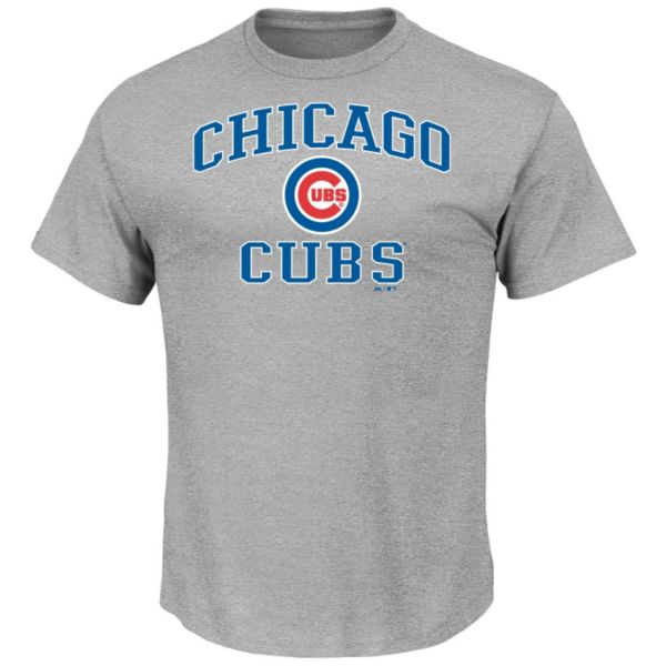 Men's Majestic Chicago Cubs Gray Heart & Soul Tee