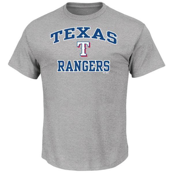 Men's Majestic Texas Rangers Gray Heart & Soul Tee