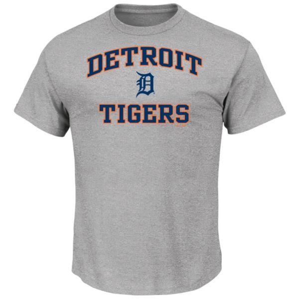 Men's Majestic Detroit Tigers Gray Heart & Soul Tee