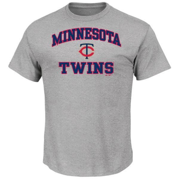 Men's Majestic Minnesota Twins Gray Heart & Soul Tee