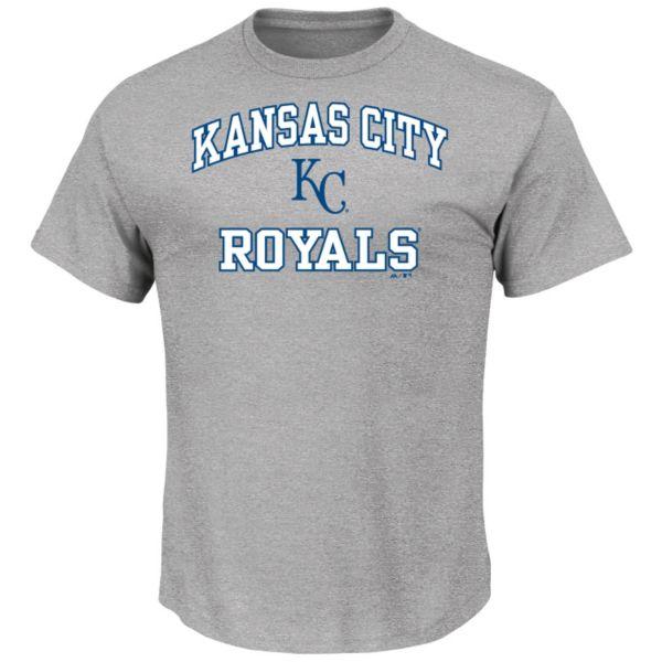 Men's Majestic Kansas City Royals Gray Heart & Soul Tee