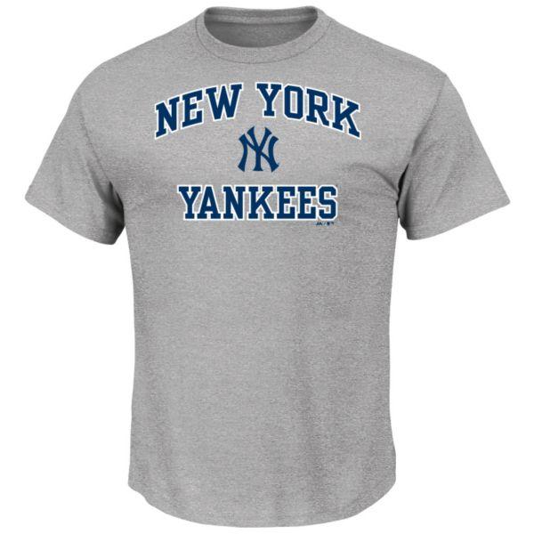 Men's Majestic New York Yankees Gray Heart & Soul Tee