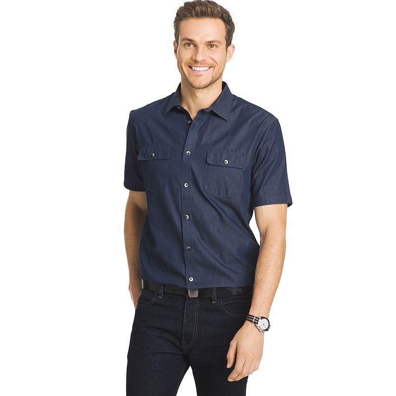 Big & Tall Van Heusen Indigo Twill Solid Button-Down Shirt