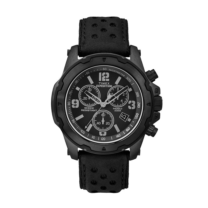 Timex Men's Expedition Sierra Leather Chronograph Watch