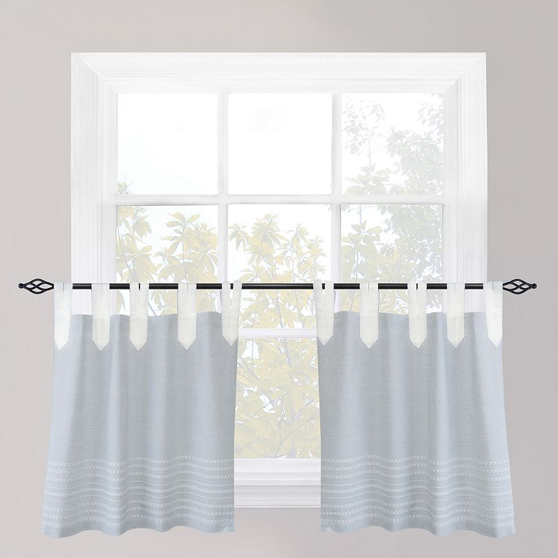 Park B. Smith Nordic Bands Chambray Tier Curtain Pair