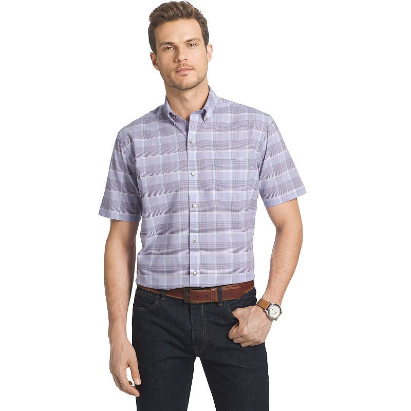 Big & Tall Van Heusen Lux Touch Easy-Care Plaid Button-Down Shirt