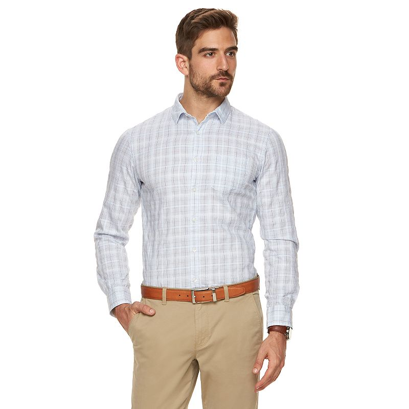Men's Marc Anthony Extra-Slim Fit Plaid Stretch Button-Down Shirt
