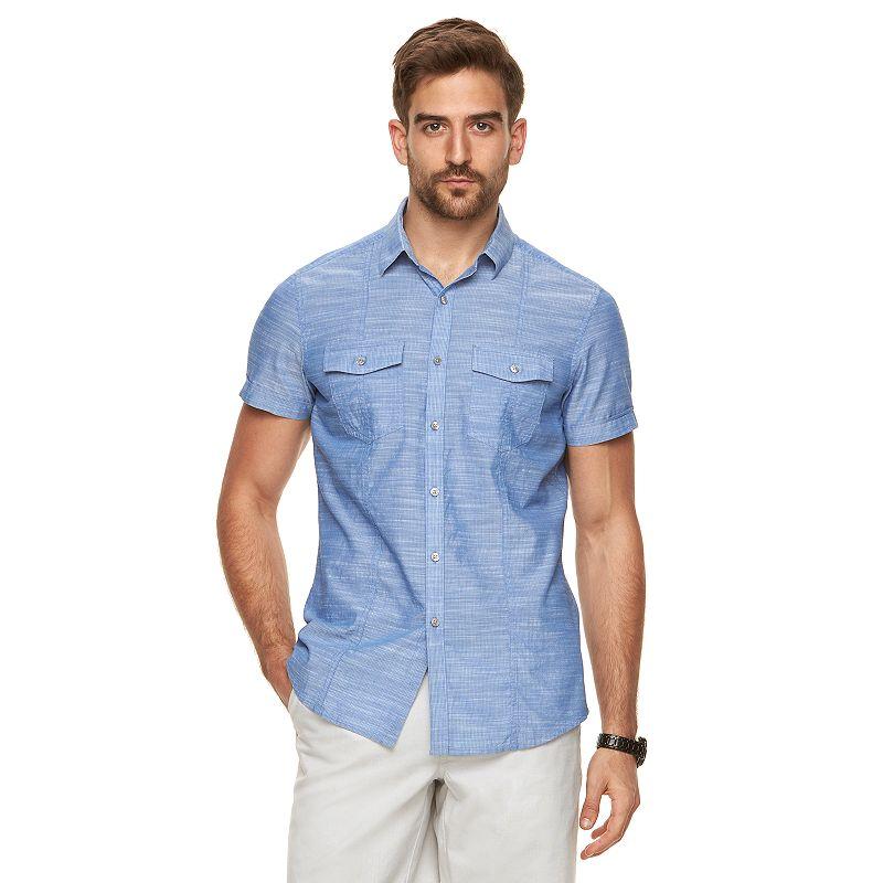 Men 39 s marc anthony slim fit 2 pocket textured short sleeve for Mens two pocket short sleeve shirts