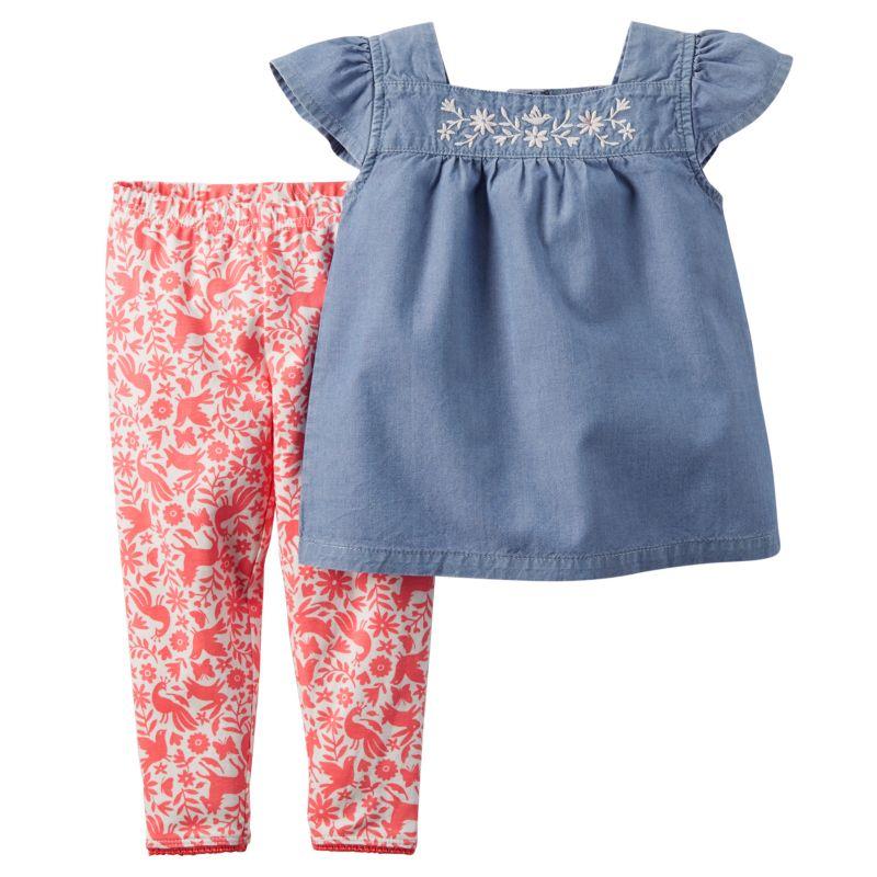 Baby Girl Carter's Chambray Top & Leggings Set