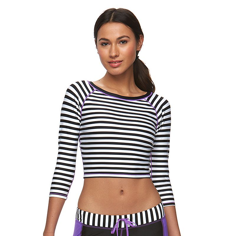 Women's Reebok Sano Claudia Swim Cover-Up Crop Rash Guard
